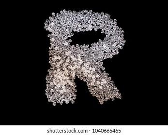 text alphabet create by crystal on black isolated