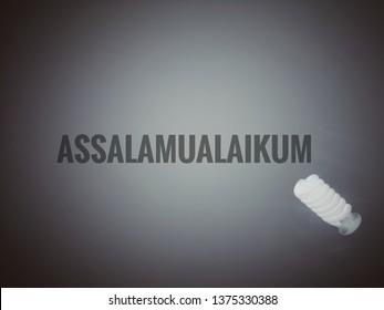text assalamualaikum with dark background