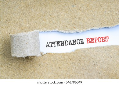 The text ATTENDANCE REPORT behind torn brown paper