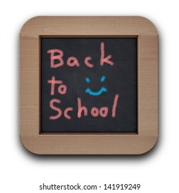Text back to school on the black wood board