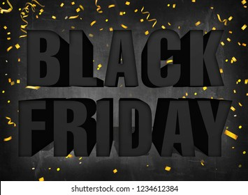 Text black friday big sale sign on dark blackboard background with golden party confetti