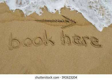 The text book here written in the sand at the beach
