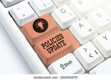 Text caption presenting Policies Update. Business approach act of adding new information or guidelines formulated Developing New Interactive Website, Editing Programming Codes