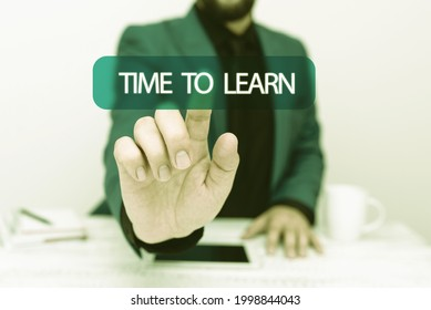 Text caption presenting Time To Learn. Business overview the need to get knowledge or understanding of facts and ideas Presenting Communication Technology Smartphone Voice And Video Calling
