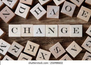 text of CHANGE on cubes