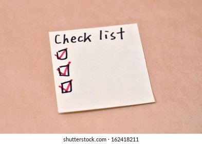 Text Check list on the short note texture background
