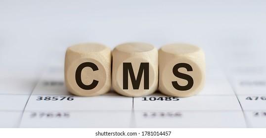 Text CMS on a wooden cube blocks