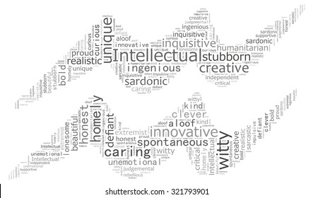 Text collage of the zodiac Aquarius