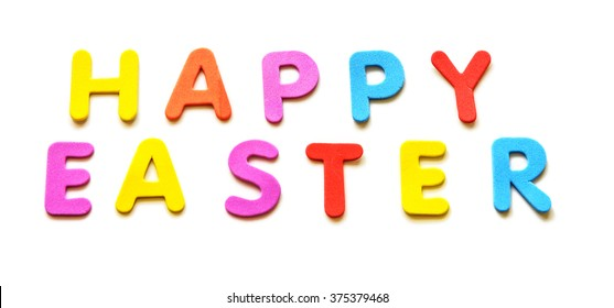 Text of colorful letters Happy Easter on the white background. Isolated. Spring Holiday. For greeting card