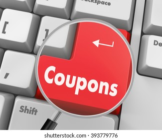 Text coupons button 3d render