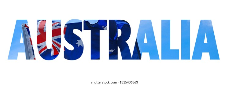 Text cutout filled with image of Australian flag and blue sky. Text reads Australia isolated on white