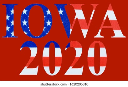 Text cutout of the red, white and blue flag of the United States of America for the first state to vote in presidential elections, Iowa using the caucus system. Red background