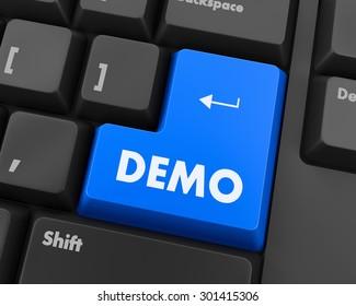Text demo button 3d render