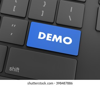 Text demo button, 3d rendering