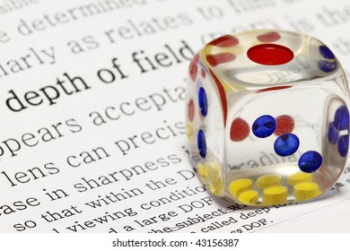 text demonstration of dof (depth of field) and dice in focus.