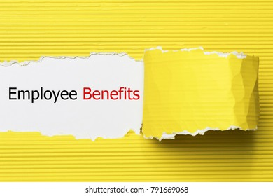 The text Employee Benefits appearing behind torn paper