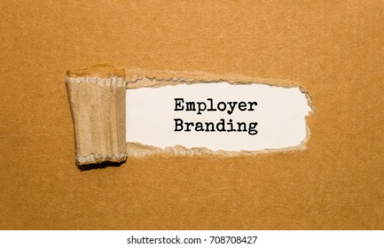 The text Employer Branding appearing behind torn brown paper
