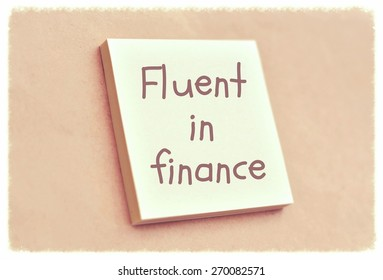Text fluent in finance on the short note texture background