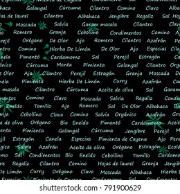 Text food abstract pattern with names of spices in spanish: garlic,onion,paprika, ginger,basil,saffron,curry. Background for print, textiles, clothing,wallpapers,napkins, covers. Creative illustration