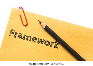 Text Framework on brown paper and pencil / business concept