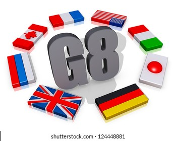 The text G8 encircled by the member flags.