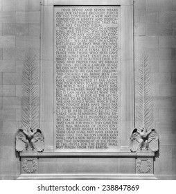 Text of Gettysburg Address scribed on the wall at the Lincoln Memorial in Washington, DC.  President Abraham Lincoln delivered the speech on November 19, 1863. (Black and White)