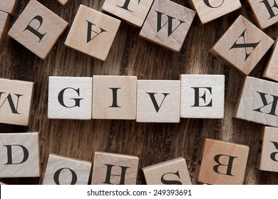 text of GIVE on cubes