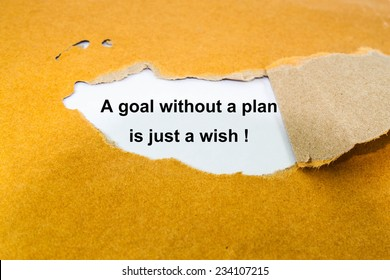 Text a goal without a plan is just a wish! on envelope