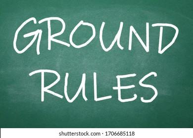 Text GROUND RULES written on green chalkboard