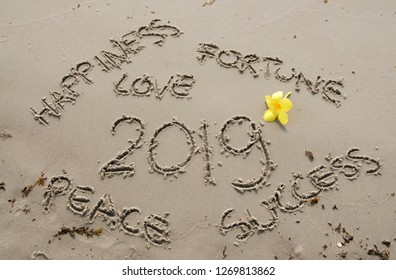 "Text ""Happiness, Fortune, Love, Peace, Success 2019"" written on the sand with a decorating yellow flower"