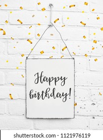 Text happy birthday celebration banner with confetti