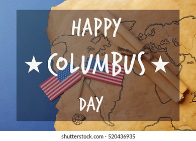 Text HAPPY COLUMBUS DAY on old world map background. National holiday concept.