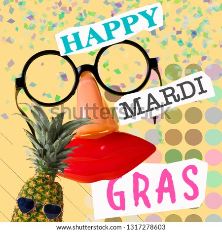 fdf2fb7e888f text happy mardi gras, fake black eyeglasses with a nose and a mouth, and