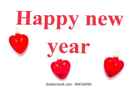 text happy new year with Christmas tree decoration on white background