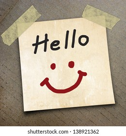 Text Hello on the packing paper box texture background