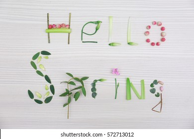 Text HELLO SPRING made of leaves and herbs on wooden background
