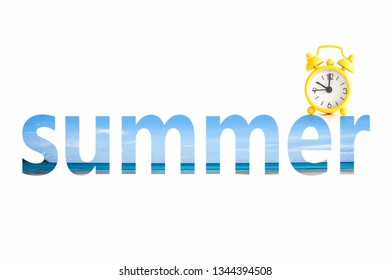 Text hello summer isolated on white,concept for summer holiday season background.