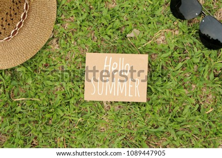 f50a18a73c0 Text Hello Summer White Straw Hat Stock Photo (Edit Now) 1089447905 ...