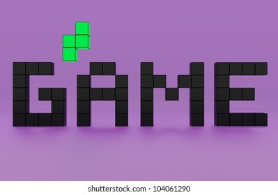 the text of the inscription game the purple background