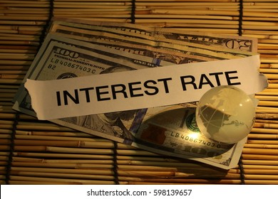 "Text "" interest rate "" on dollar bank note"