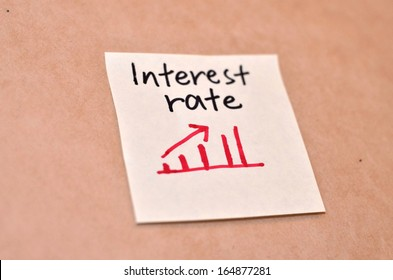 Text interest rate on the short note texture background