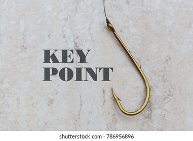 Text Key Point and a fishing hook on bright background