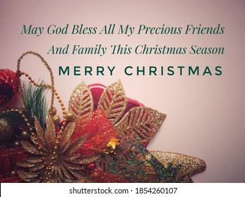 Text label with background of Christmas ornaments decoration