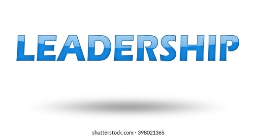 Text LEADERSHIP with blue letters and shadow. Illustration, isolated on white