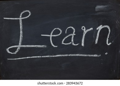 Text Learn Black Chalk board