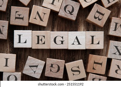 text of LEGAL on cubes