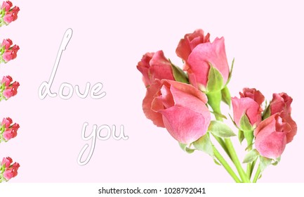 Text Love You in handwriting on a Greeting Card with bouquets of red roses on pink background pink,