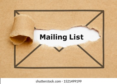 Text Mailing List appearing behind ripped brown paper in letter envelope drawing.