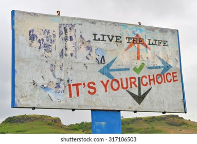Text message about personal wishes and choices written on a white billboard
