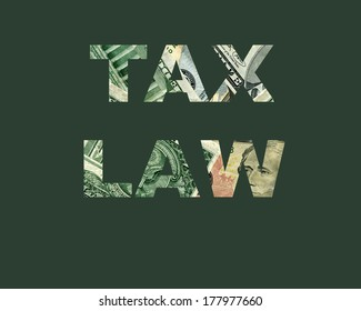 Text from money background about United States Taxes